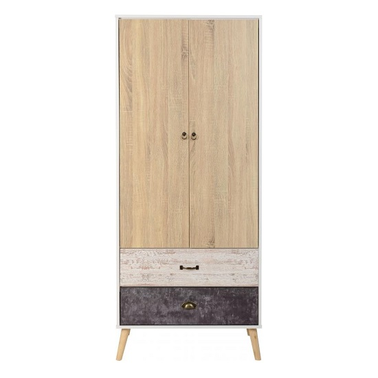 Elston Wardrobe In White And Distressed Effect With Two Doors_3