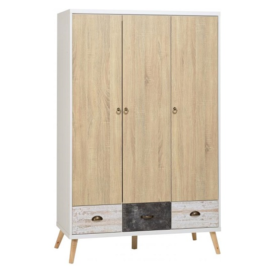 Elston Wide Wardrobe In White And Distressed Effect_1