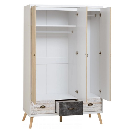 Elston Wide Wardrobe In White And Distressed Effect_2