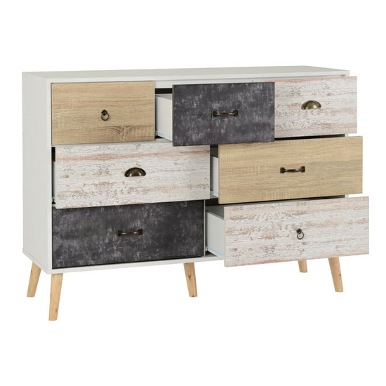 Elston Wooden Chest Of Drawers In White And Distressed Effect_2