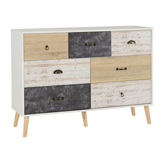 Elston Wooden Chest Of Drawers In White And Distressed Effect_1