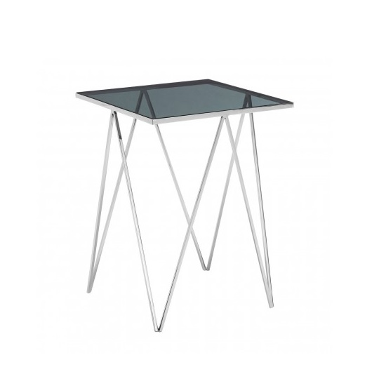 Elstra Square Glass Side Table With Polished Steel Frame_4