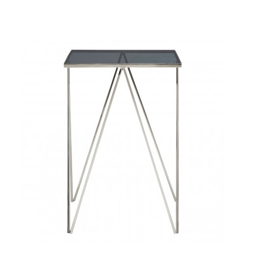 Elstra Square Glass Side Table With Polished Steel Frame_3