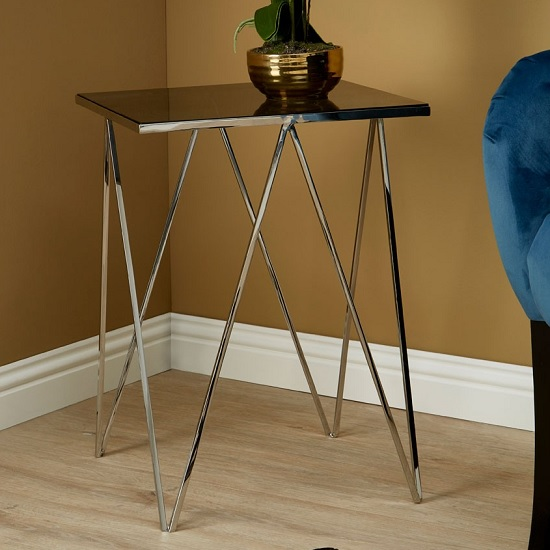 Elstra Square Glass Side Table With Polished Steel Frame_2