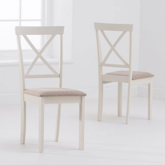Chertan Cream Fabric Padded Dining Chair In A Pair