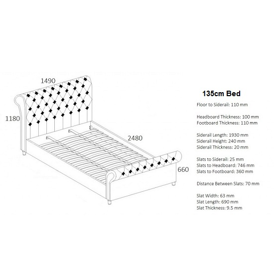 Elton Fabric Bed In Steel With Dark Wooden Feet_3