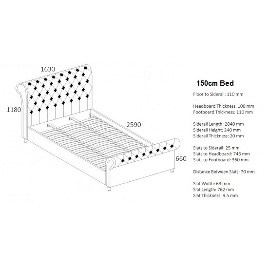 Elton Fabric Bed In Steel With Dark Wooden Feet_4