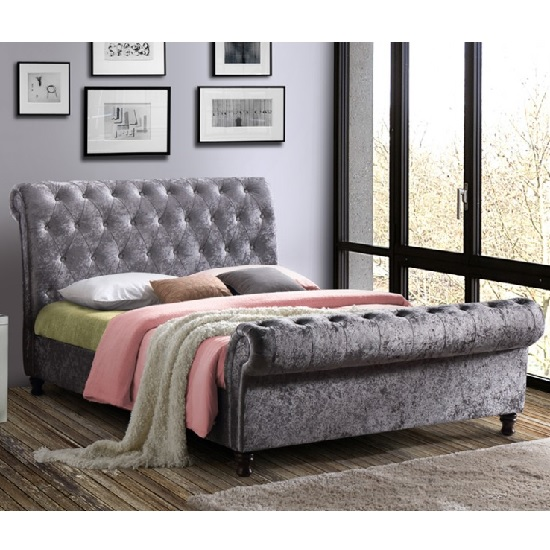 Elton Fabric Bed In Steel With Dark Wooden Feet
