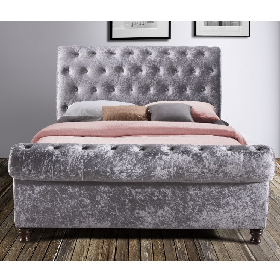 Elton Fabric Bed In Steel With Dark Wooden Feet_2