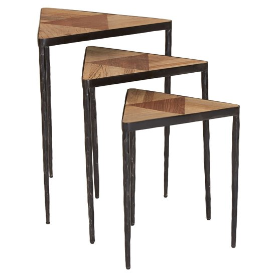 Eltro Wooden Set Of 3 Triangular Nesting Tables In Brown