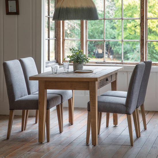 Elvedon Wooden 1 Drawer Dining Table In Oak_2