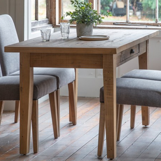 Elvedon Wooden 1 Drawer Dining Table In Oak_1
