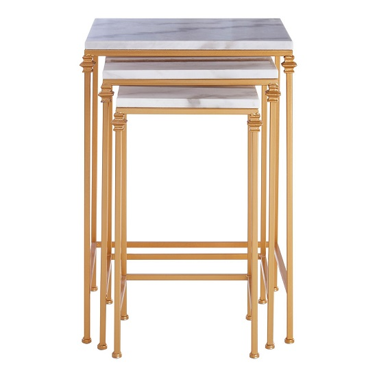 Dalim Marble Nest Of Tables With Gold Finish Frame   _3