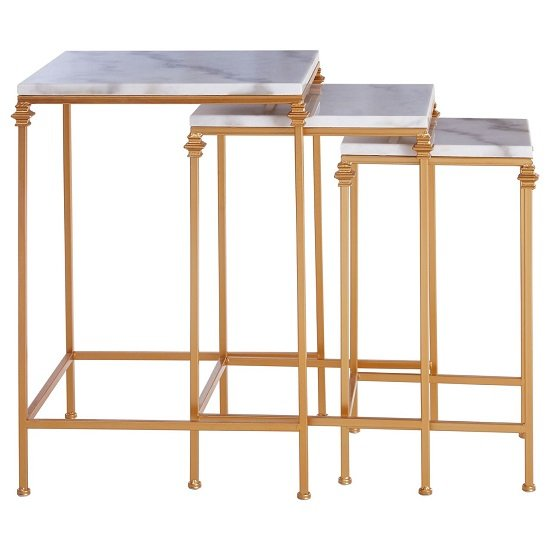 Dalim Marble Nest Of Tables With Gold Finish Frame   _2