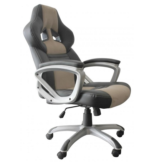 Elvina Home Office Chair In Black And Brown Faux Leather