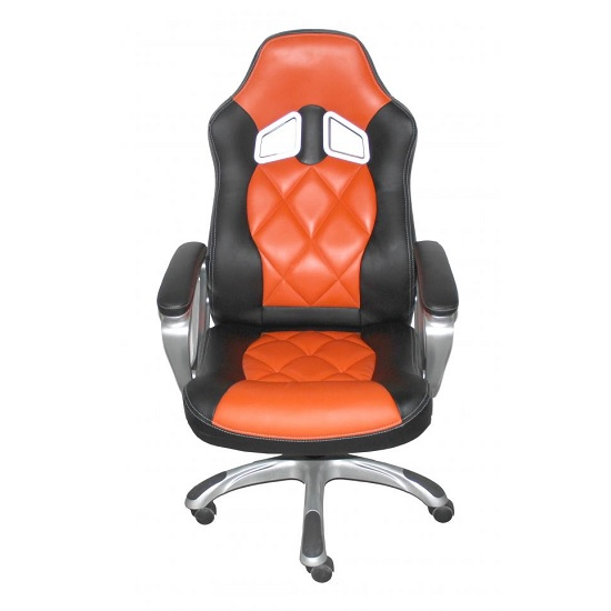 Elvina Home Office Chair In Black And Orange Faux Leather