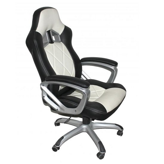 Elvina Home Office Chair In Black And White Faux Leather