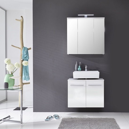 Elvis Wall Mount White Bathroom Set In Gloss Fronts And Lighting