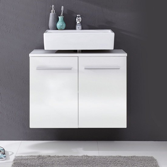 Read more about Elvis wall mount vanity cabinet in white with high gloss fronts