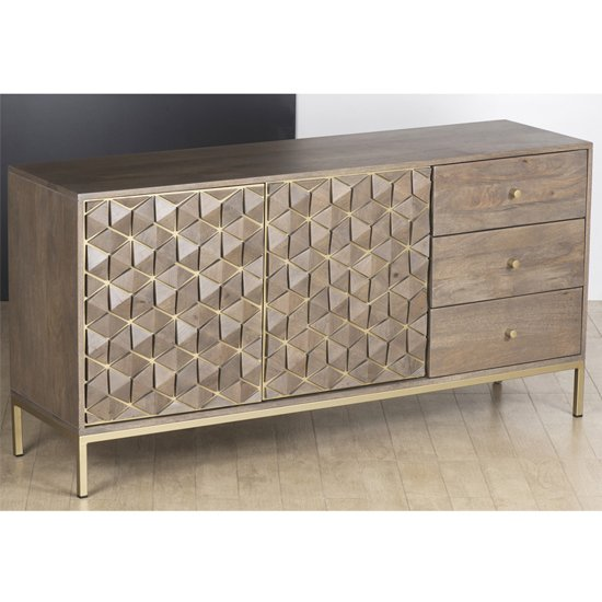 Elyton Sideboard In Grey Wash With 2 Doors And 3 Drawers