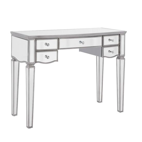 Elysee Glass Dressing Table In Mirrored With 5 Drawers_1