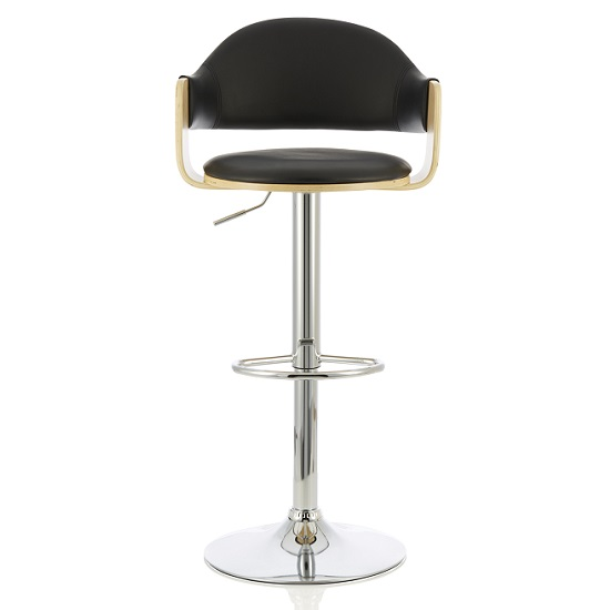 Emden Bar Stool In Oak And Black PU With Chrome Base