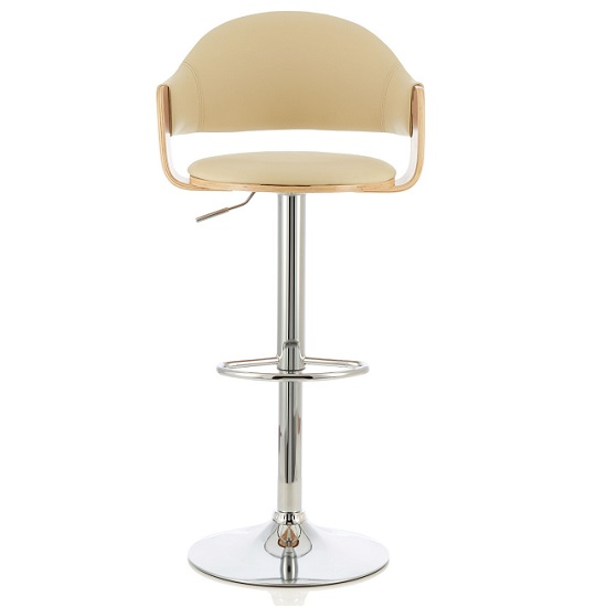Emden Bar Stool In Oak And Cream PU With Chrome Base