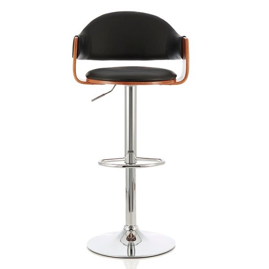 Emden Bar Stool In Walnut And Black PU With Chrome Base
