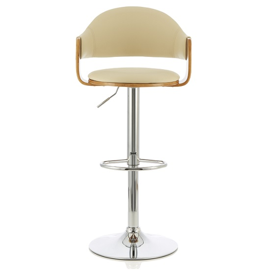Emden Bar Stool In Walnut And Cream PU With Chrome Base