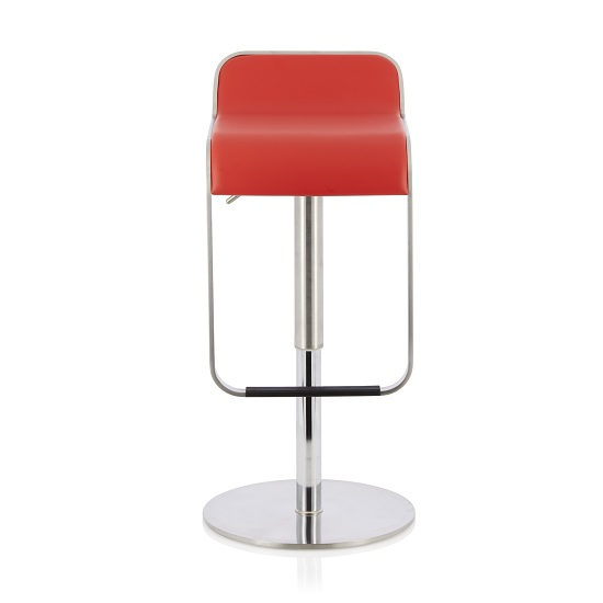 Emelia Bar Stool In Red Faux Leather And Stainless Steel Base