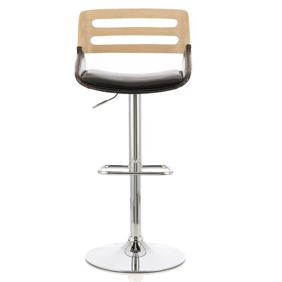 Emeline Bar Stool In Oak And Black PU With Chrome Base