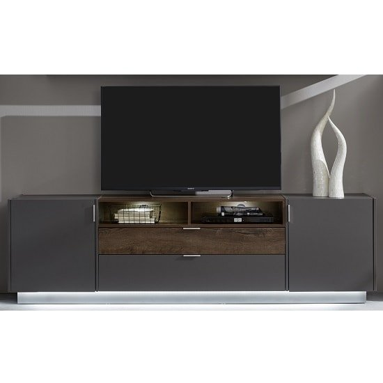 Emerald Wooden TV Stand In Grey And Monastry Oak With LED