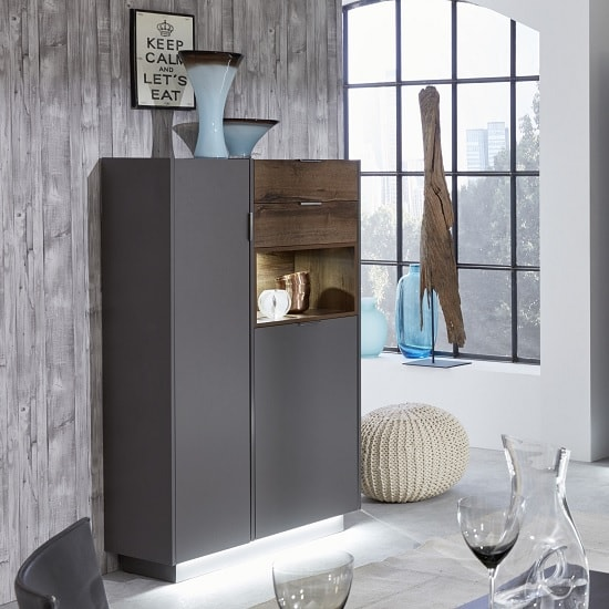 Emerald Wooden Highboard In Grey And Monastry Oak With LED