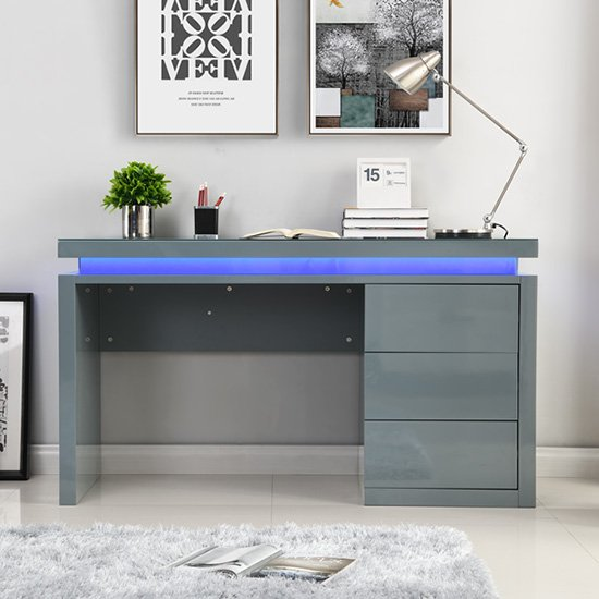 Emerson Computer Desk In Grey High Gloss With LED_2