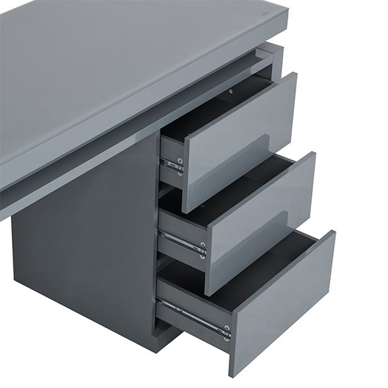 Emerson Computer Desk In Grey High Gloss With LED_12