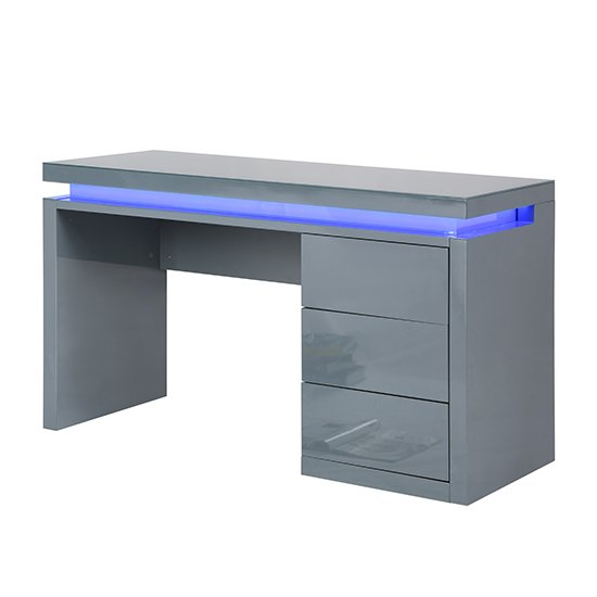 Emerson Computer Desk In Grey High Gloss With LED_3