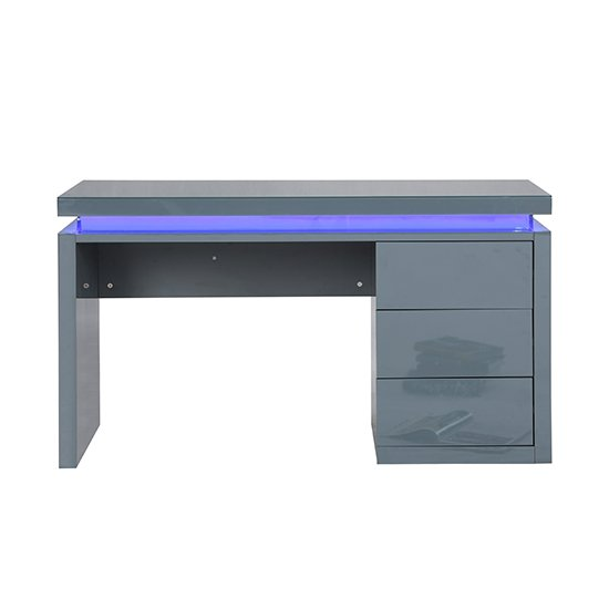 Emerson Computer Desk In Grey High Gloss With LED_4