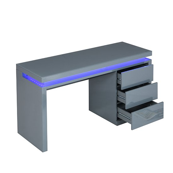 Emerson Computer Desk In Grey High Gloss With LED_5