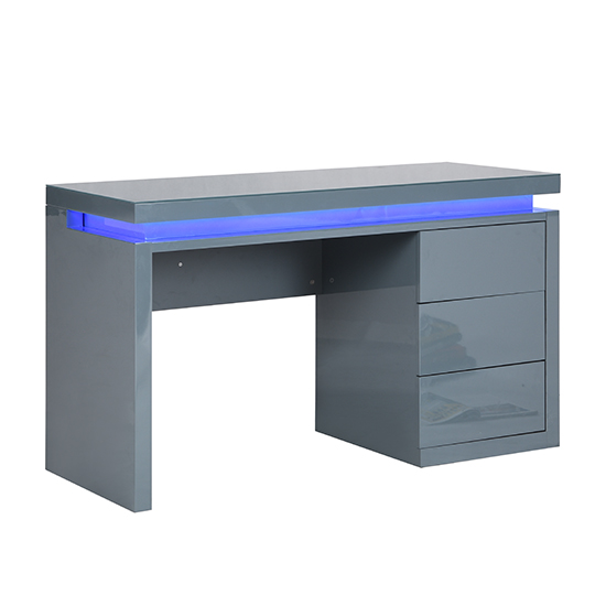 Emerson Computer Desk In Grey High Gloss With LED_7