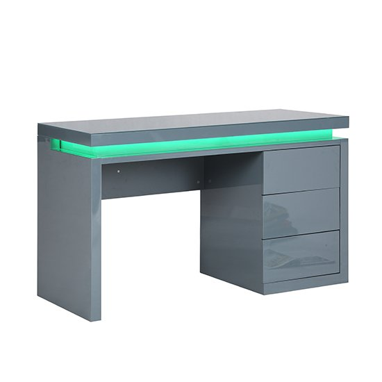 Emerson Computer Desk In Grey High Gloss With LED_8