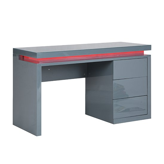 Emerson Computer Desk In Grey High Gloss With LED_9