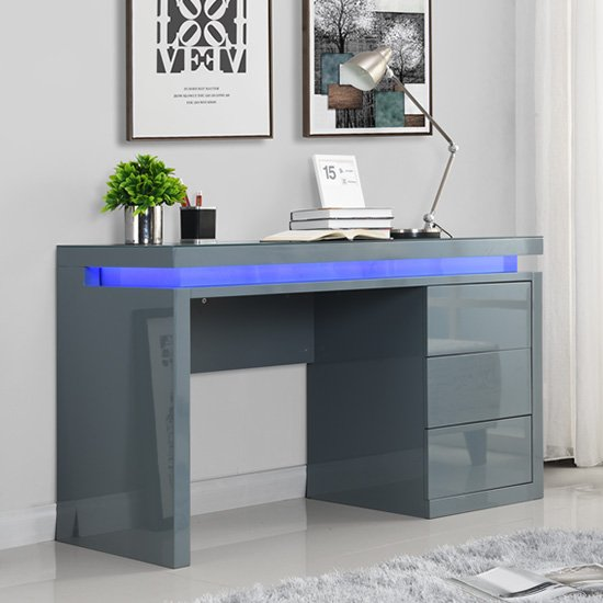 Emerson Computer Desk In Grey High Gloss With LED_1