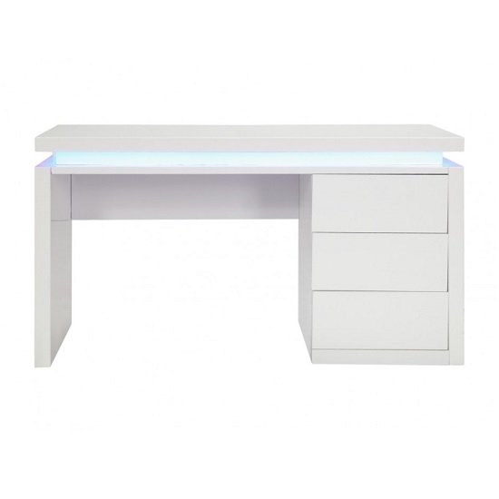 Emerson Computer Desk In White High Gloss With LED_3