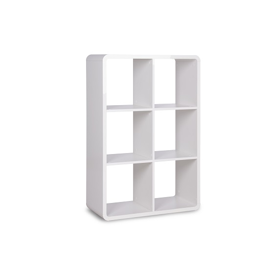 Emerson Shelving Unit In White High Gloss With 6 Compartment 3