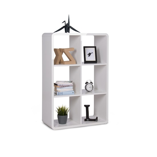 Emerson Shelving Unit In White High Gloss With 6 Compartment_1