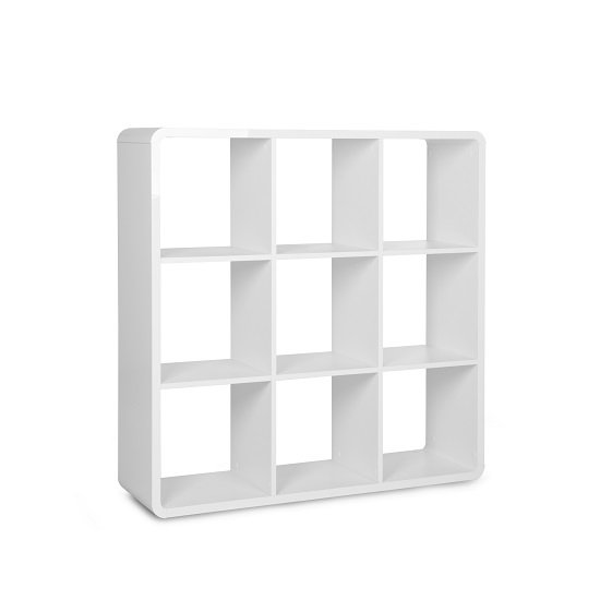 Emerson Shelving Unit In White High Gloss With 9 Compartment_2