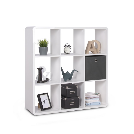Emerson Shelving Unit In White High Gloss With 9 Compartment_1