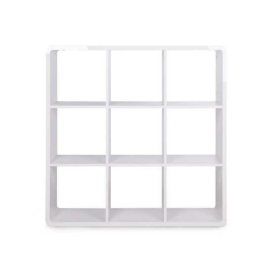 Emerson Shelving Unit In White High Gloss With 9 Compartment_3