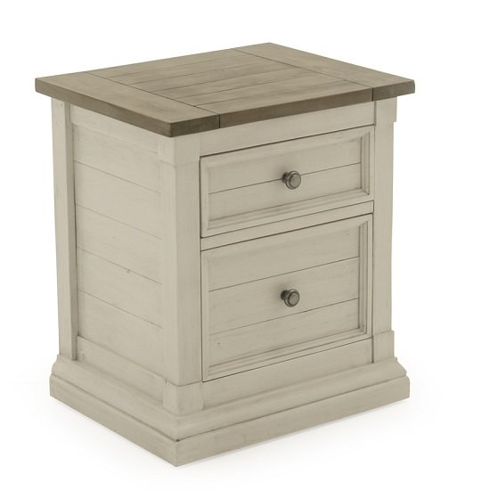 Emery Wooden Bedside Table In Antique White With 2 Drawers_1
