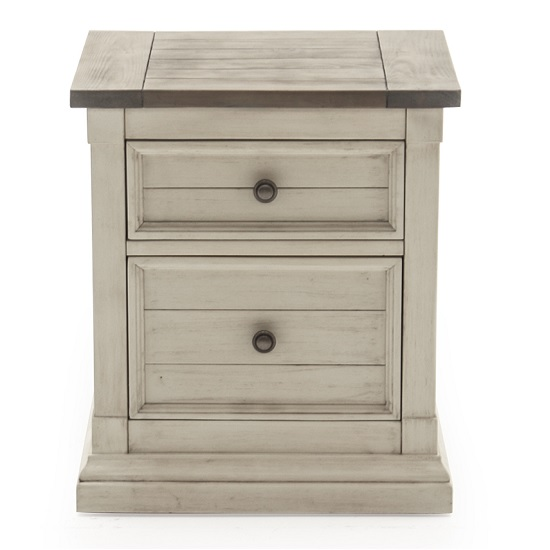 Emery Wooden Bedside Table In Antique White With 2 Drawers_2